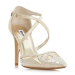 Dune - Light gold 'Darlings' embellished cross strap high heel shoes