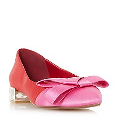 Dune - Red 'Bowen' two toned satin bow flat shoes