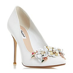 Dune - White 'Azalea' floral detail court shoes