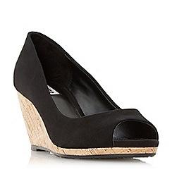 Dune - Black 'Cadence' peep toe cork wedge court shoes