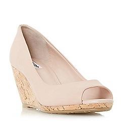 Dune - Light pink 'Cadence' peep toe cork wedge court shoes