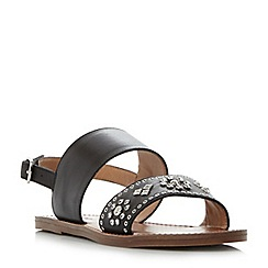 Dune - Black 'W Luma' slingback stud and diamante flat sandals