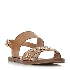 Dune - Tan 'W Luma' slingback stud and diamante flat sandals