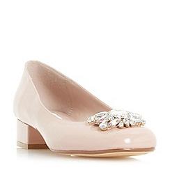 Dune - Natural 'Buntie' jewel brooch block heel court shoes