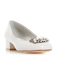 Dune - Grey 'Buntie' jewel brooch block heel court shoes