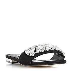 Dune - Black 'Novella' jewel trim slider sandals
