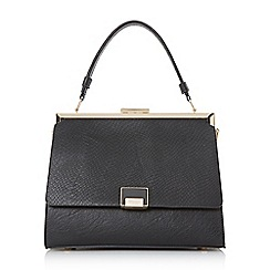 Dune - Black 'Dame' large enamel lock frame top handle bag