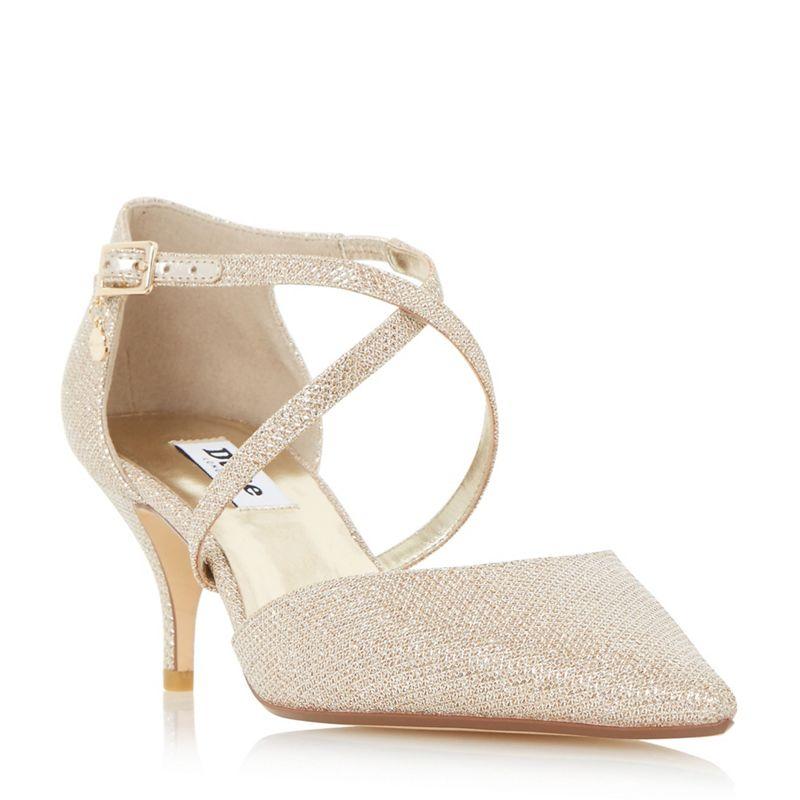 Dune Gold Courtnee cross strap kitten heel court shoes