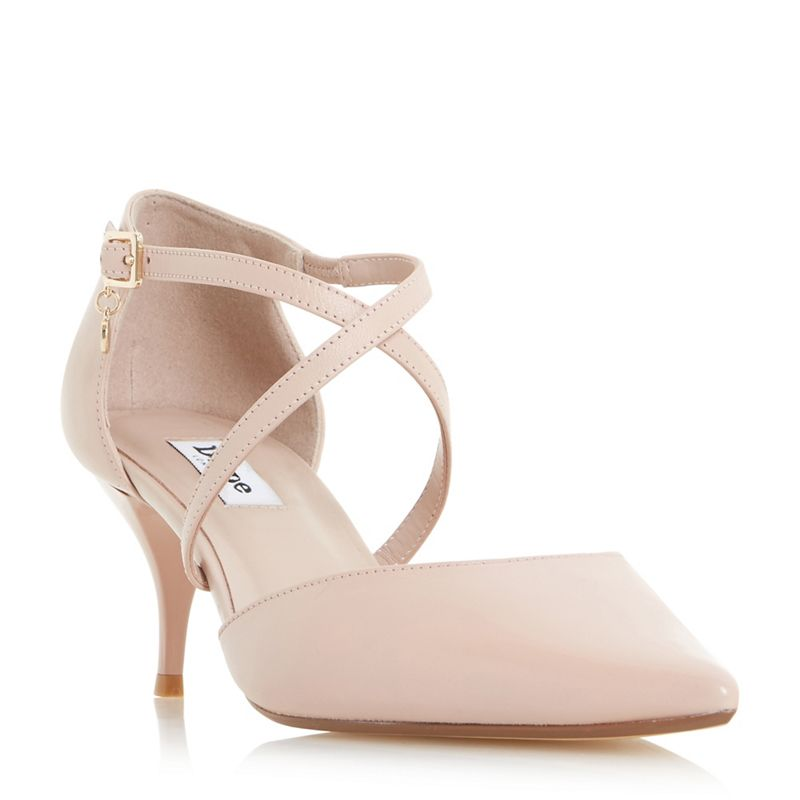 Dune Light pink Courtnee cross strap kitten heel court shoes