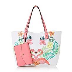 Dune - White 'Dellilah' flamingo shopper tote bag