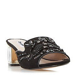 Dune - Black 'Meera' slipper cut jewelled mule sandals