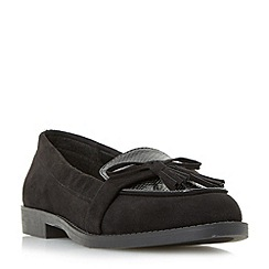 Head Over Heels by Dune - Black 'Gerrie' tassel strap loafers
