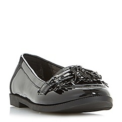 Head Over Heels by Dune - Black 'Gigli' metal trim fringe tassel loafers