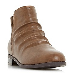 Head Over Heels by Dune - Tan 'Piaa' ruched chelsea ankle boots