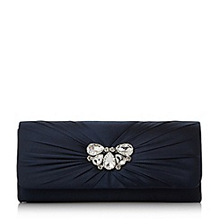 Roland Cartier - Navy 'Blissful' diamante ruched clutch bag