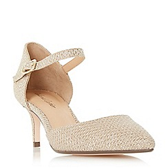 Roland Cartier - Gold 'Dainty' two part mid heel court shoes