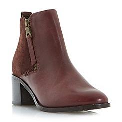 Roberto Vianni - Maroon 'Poetry' block heel side zip ankle boots