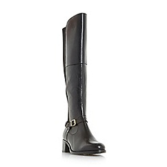 Roberto Vianni - Black 'Tierny' buckle strap over the knee boots