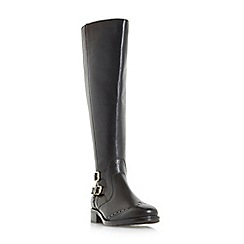 Roberto Vianni - Black 'Tridant' double buckle knee high brogues boots