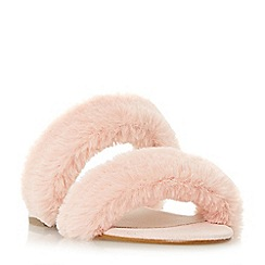 Dune - Pink 'Lilliana' fluffy double strap sandals