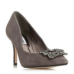 Dune - Grey 'Betti' jewelled brooch detail mid heel court shoes