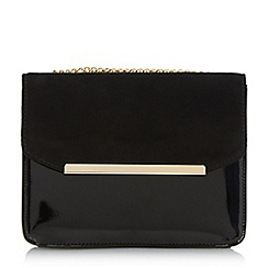 Head Over Heels by Dune - Black 'Betsi' mix material flap over bag
