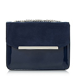 Head Over Heels by Dune - Navy 'Betsi' mix material flap over bag