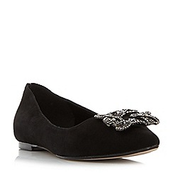 Dune - Black 'Briela' brooch trim flat shoes