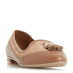 Dune - Tan 'Gambel' double tassel brogue detail slip on shoes