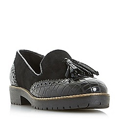 Dune - Black 'Giorgia' cleated sole tassel loafers