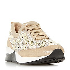 Dune - Gold 'Enigma' embellished lace up trainers