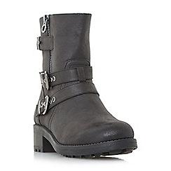 Head Over Heels by Dune - Black 'Rochel' multi strap biker boots