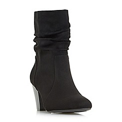 Head Over Heels by Dune - Black 'Ronni' ruched heeled calf boots