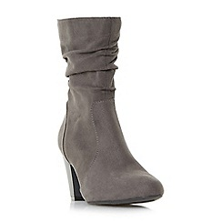 Head Over Heels by Dune - Grey 'Ronni' ruched heeled calf boots
