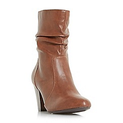 Head Over Heels by Dune - Tan 'Ronni' ruched heeled calf boots