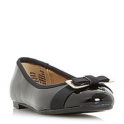 Head Over Heels by Dune - Black 'Honor' bow detail ballerina shoes