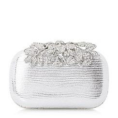 Dune - Silver 'Emberrs' embellished clasp clutch bag