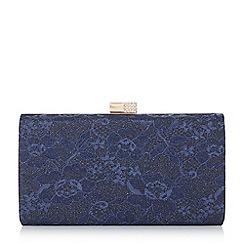 Roland Cartier - Navy 'Bayliss' embellished clasp hard case clutch bag