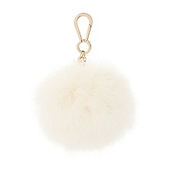 Dune - Cream 'Sashy' oversized marabou feather bag charm