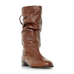 Dune - Tan 'Rosalind' slip on ruched calf boots