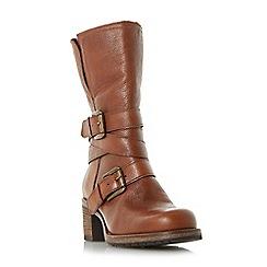 Dune - Tan 'Rockerr' buckle strap heeled calf boots