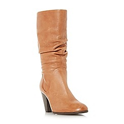 Dune - Tan 'rossy' slouch pull on calf boots