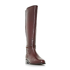 Dune - Maroon 'Taro' buckle and hardware detail knee high riding boots
