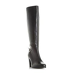 Dune - Black 'Samuelle' knee high buckle strap boots
