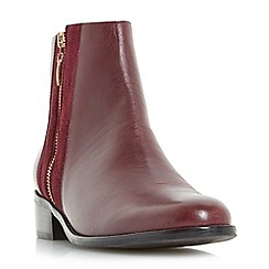 Dune - Dark red 'Pauler' mixed material size zip ankle boots