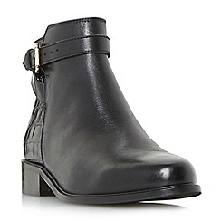 Dune - Black 'Poppy' buckle detail side zip ankle boots