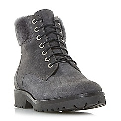 Dune - Grey 'Perrinn' lace up faux fur trim ankle boots