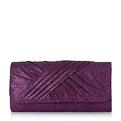 Roland Cartier - Purple 'Bailee' ruched fabric clutch bag