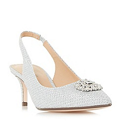 Roland Cartier - Silver 'Dolcie' embellished slingback court shoes