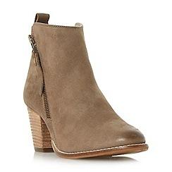 Dune - Dark grey 'Pontoon' stacked heel side zip ankle boots